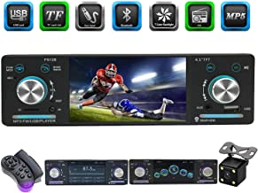 CACA Single Din Car Stereo Receiver with Bluetooth FM Radio in-Dash/4.1inch HD Digital Screen/MP3/MP4/MP5 Video Player with Rear View Camera and Wireless Remote Control