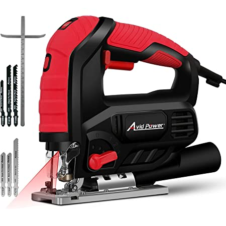 Jigsaw, AVID POWER 7.0A 3000 SPM Jig Saw with Variable Speed, Bevel Angle (0°-45°), 6PCS Blades and Scale Ruler