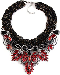 PSNECK Exaggerated Vintage Gem Red Bib Beads Rope Crystal Flower Maxi Rhinestone Statement Collar Necklace