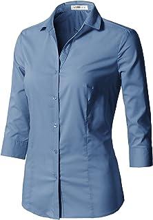 CLOVERY Women's Formal Wear 3/4 Sleeve Simple Slim Fit Button Down Shirt