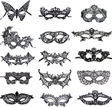 BAWASEEHI Sexy Black Lace Masquerade Masks for Women Venetian Style Eye Mask for Costume Ball Halloween Party, 15 Pack