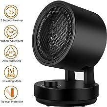 NEXGADGET Calefactor Eléctrico Cerámico 1500W / 900W, 3 Potencias, 85° Oscilación Automática Horizontal y Oscilación Vertical Manual de 3 Ángulo,Viento Cálido/Natural para Hogar y Oficina