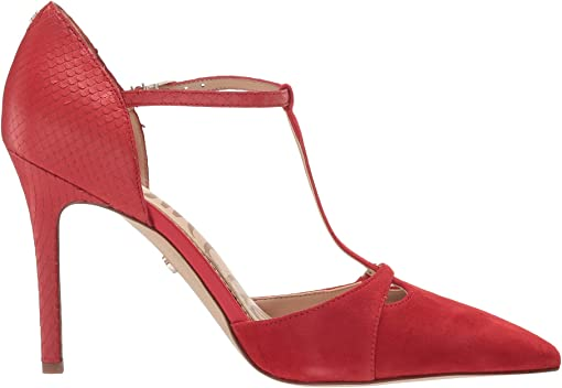Lipstick Red Suede Leather/Tonal Printed Snake Leather