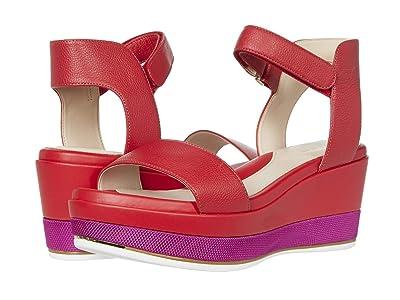 Cole Haan Grand Ambition Flatform Wedge Sandal 65 mm (Tango Red Tumbled Leather/CH Fuchsia Nylon Midsole) Women