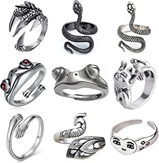 HUASAI خاتم ثعبان للنساء خمر الحيوان كوبرا خواتم قابل للتعديل ثعبان الدائري