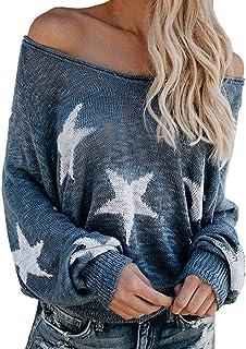 Mujer Jerséis Moda Impresión de la Estrella Suéter Largo Casual Jersey Prendas de Punto de Cuello Barco Mangas Largas Camiseta Tops