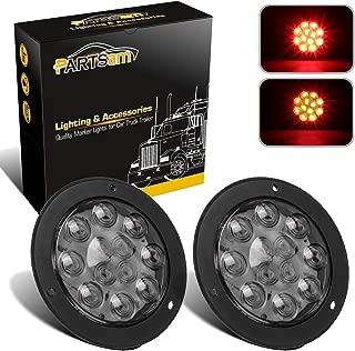 Partsam 2Pcs 4 Inch Round Red LED Trailer Tail Lights Flange Mount Smoke Lens - 12 RED LED Turn Stop Brake Trailer Lights Waterproof for RV Trucks