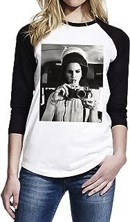 TopFusion Women's Lana Del Rey with Camera 3/4 Sleeve Baseball T-Shirt