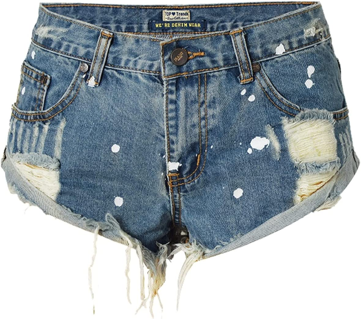 SBCDY Women's Destroyed Ripped Hole Denim Shorts Sexy Short Jeans Summer High Waist Denim Shorts Hole Tear Tassel Denim Shorts (Color : Blue, Size : 42)