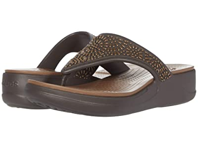 Crocs Monterey Diamante Wedge Flip (Espresso/Bronze) Women