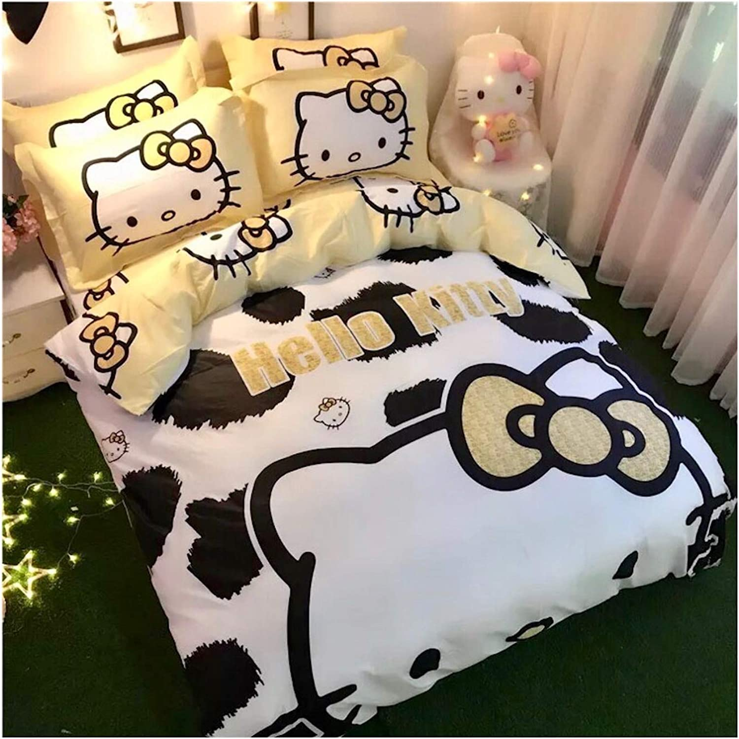 Featuring Hello Kitty 100% Cotton Bedding Sheet Set 3 and 4 Pieces Single Queen King Size Yellow Cute Cartoon Animate Girly (Single Size)