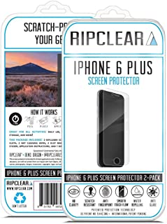 Ripclear Screen Protector Kit for iPhone 6 Plus/6S Plus Unbreakable - Military Grade Scratch-Resistant, Crystal Clear Smart Phone Screen Cover - 2-Pack