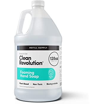 Clean Revolution Foaming Hand Soap Refill Supply Container. Ready to Use Formula. Spring Air Fragrance, 128 Fl. Oz