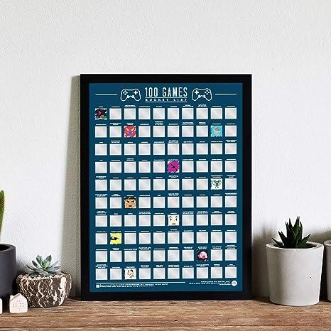 100 Video Games Bucket List Scratch Poster