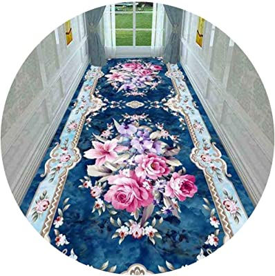 Hallway Runner Rug Long Runner Rugs Corridor Carpet 3D European Style Home Living Room Bedroom Bedside Stairs Strip Non-Slip Mat (Color : A, Size : 1.4X7M)