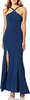 Dress the Population womens Brianna Halter Mermaid Fitted Long Gown Maxi Dress Dress