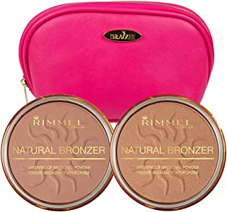 Rimmel Natural Bronzers Kit in Two Shades 0.49 Ounces Each; Sun Light and Sun Dance with Hot Pink Draizee Leather Cosmetic Bag
