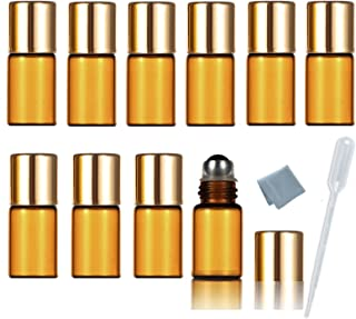 SIMPLE-E 3ml Amber Glass Roll on Essential Oil Empty Perfume Bottle w/ Stainless Steel Roller Ball Pack of 10pcs