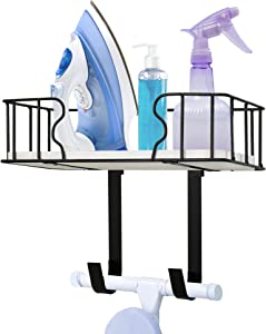 Ironing Board Hanger with Removable Hooks, Wall-Mounted Ironing Board Rack with Large Storage Space, Iron and Ironing Board Holder for Laundry Room, Laundry Room Decor and Accessories for Iron