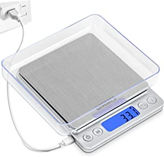 CHWARES Digital Kitchen Scales,USB Charging, 3Kg/0.1g Mini Food Scales, Electric Cooking Scales, Waterproof Digital Scale ...