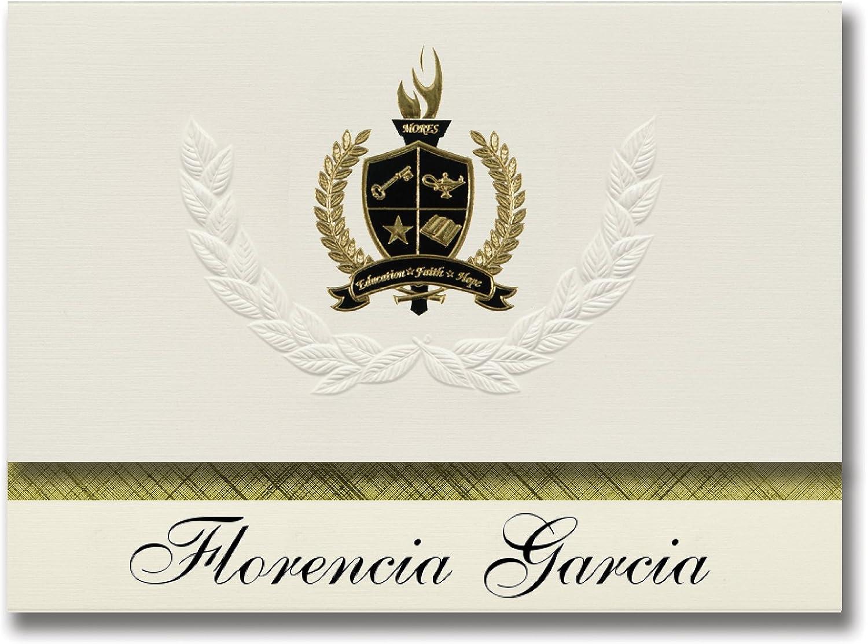 Signature Ankündigungen Florencia Garcia (Las Piedras, PR) Graduation Ankündigungen, Presidential Stil, Elite Paket 25 Stück mit Gold & Schwarz Metallic Folie Dichtung B078TT72LY   | Überlegen