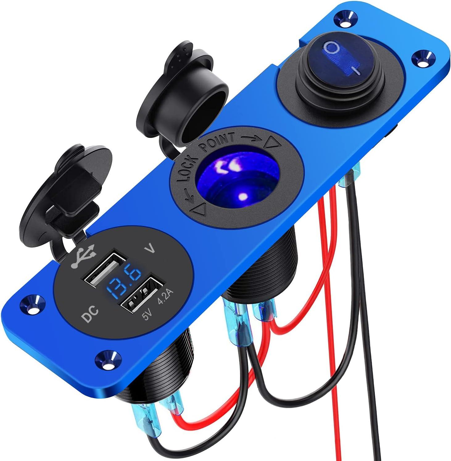 4.2 A USB Cargador Coche Panel de Enchufes Impermeable,12V/24V Enchufe para Encendedor de Cigarrillos Marino con Voltímetro LED e Interruptor, para Marina, Barco, Camión