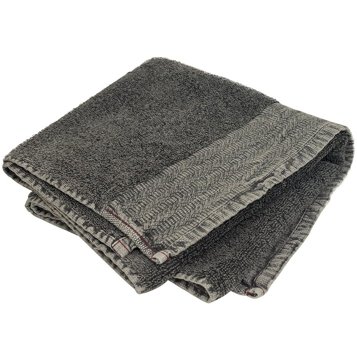 圧力独裁とげのあるStone Washed Towel ストーンウォッシュタオル (Jacquard/BK, 45×85cm)