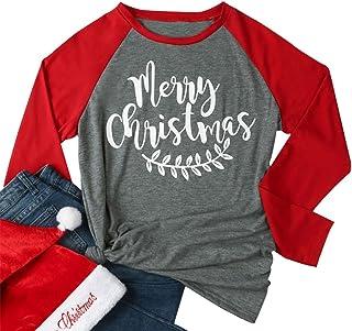 Women Merry Christmas Leaf Baseball T-Shirt Long Sleeve Letters Print O-Neck Casual Tees