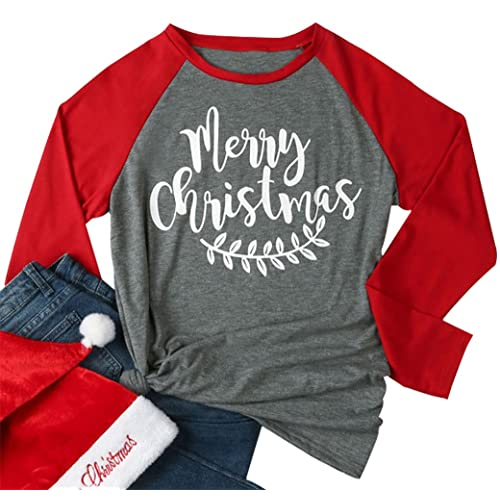 3787dc4f271 Women Merry Christmas Leaf Baseball T-Shirt Long Sleeve Letters Print  O-Neck Casual