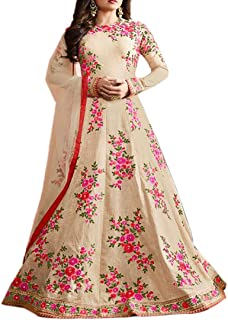 Ethnic Empire Women's Banglory Silk Anarkali Wedding Semi Stitched Anarkali Salwar Suits (EE_FlexER10615_Cream_Free Size)