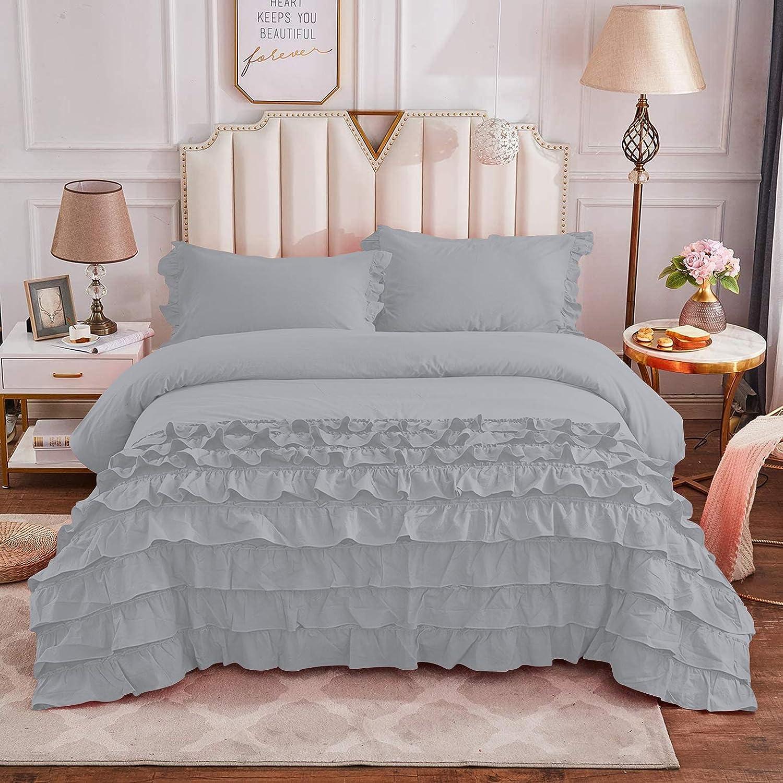 Silver Cotton Twin Twin-XL Size Cut Ruffle Financial sales sale Girls Vintage Bedding Import