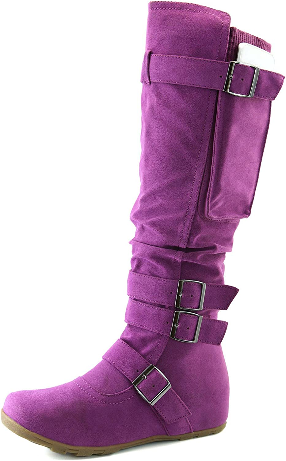 DailyShoes Women's Mid Knee High Strappy Slouch Boots