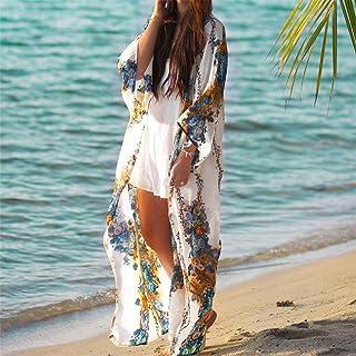 0ec097c105 WZYSTJ Beach Cover Up Tuniques pour La Plage Imprimer en Mousseline De Soie  Long Bikini Cover