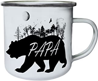 Papa Bear Wild Nature Retro,Tin, Enamel 10oz Mug u338e