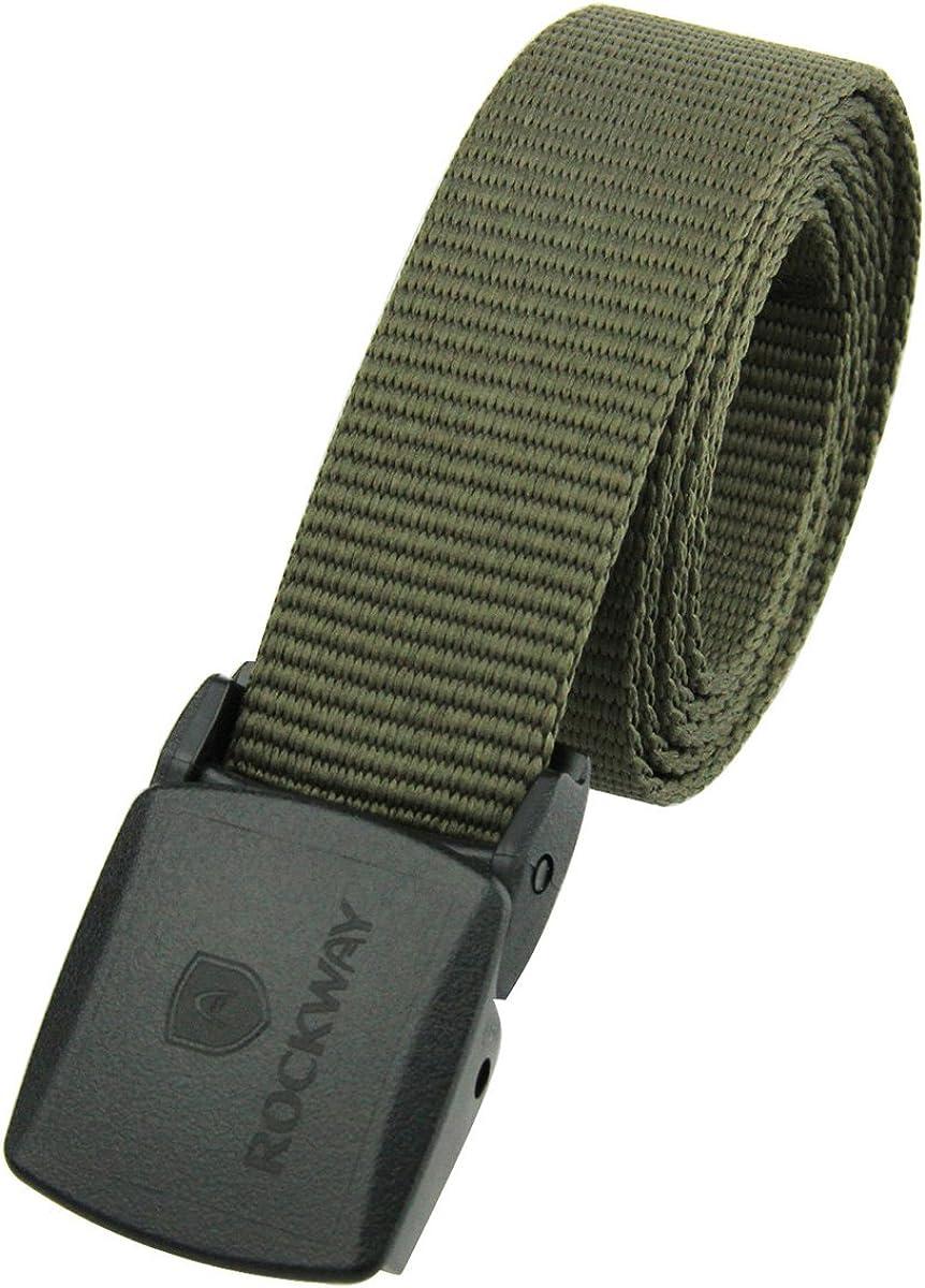 RockWay Unisex Eco-PET Belt with YKK Plastic Buckle Lightweight and Metal-Free Khaki