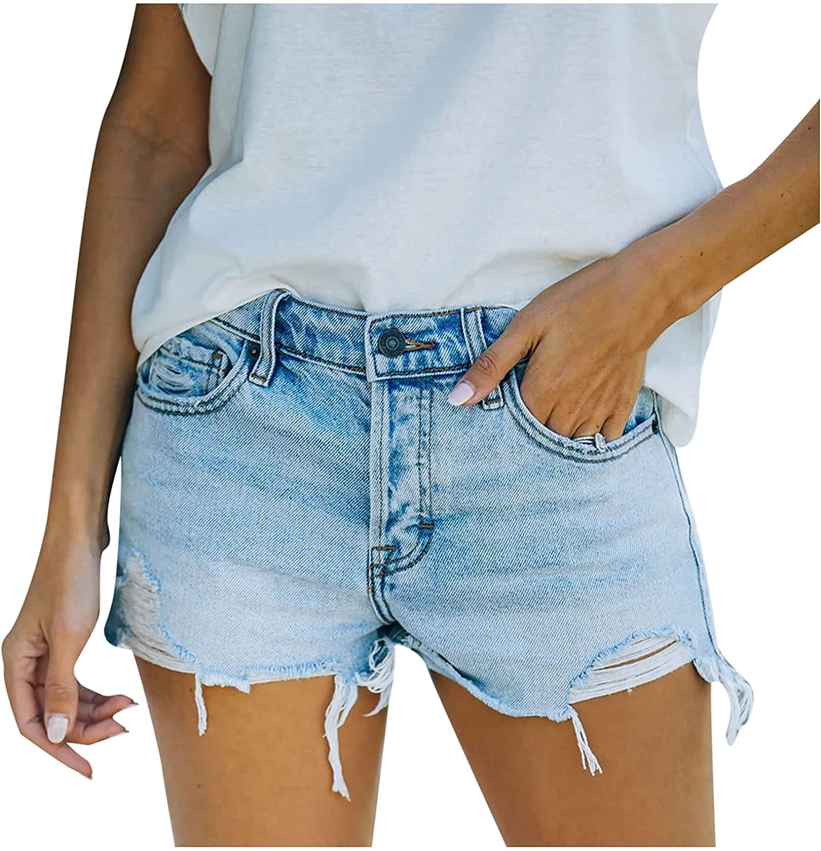 Fashion Womens Pocket Jeans Denim Pants Female Hole Bottom Sexy Casual Shorts