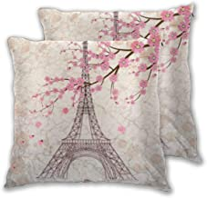 Vintage Paris Eiffel Tower with Pink Cherry Blossom Throw Pillow Cases Pillow Cover Home Decorative Soft Square Cushion Ca...