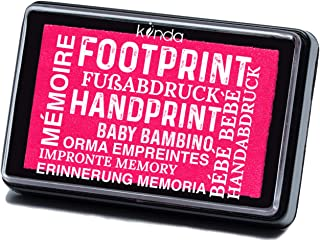 Baby Ink Pad – Handprint & Footprint Newborn Kit – Print Stamps Reusable Feet & Hands Stamps – 100% Non-Toxic, Acid-Free – Smudge-Proof Designs – Ideal Family Memory (Hot Pink)