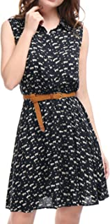 Women's Half Placket Above Knee Printed Belted Sleeveless Dress