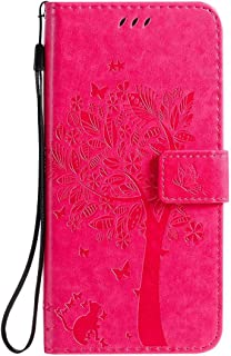Hllycr LG K20 2019 Leather Cases for girls Flip Kickstand Case with Card Slots Protective Cover for LG K20 2019 - Rose Red