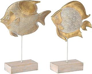 CasaJame Hogar Decoración Accesorios Adornos Esculturas Conjunto de 2 Estatuas en Forma de Pez con Soporte Resina Sintétic...