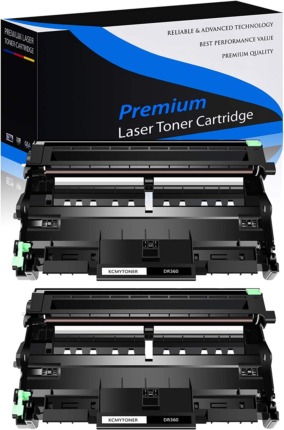 KCMYTONER 2 Pack New Replacement DR360 Drum Unit Compatible for Brother DCP-7030 DCP-7040 HL-2140 HL-2150N MFC-7340 MFC-7345DN Printer