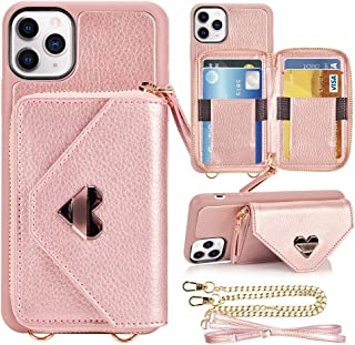 iPhone 11 Pro Max Wallet case, JLFCH iPhone 11 Pro Max Crossbody Case with Zipper Card Slot Holder Wrist Strap Shoulder Chain Leathe Handbag Purse for Apple iPhone 11 Pro Max 6.5 inch 2019 - Rose Gold