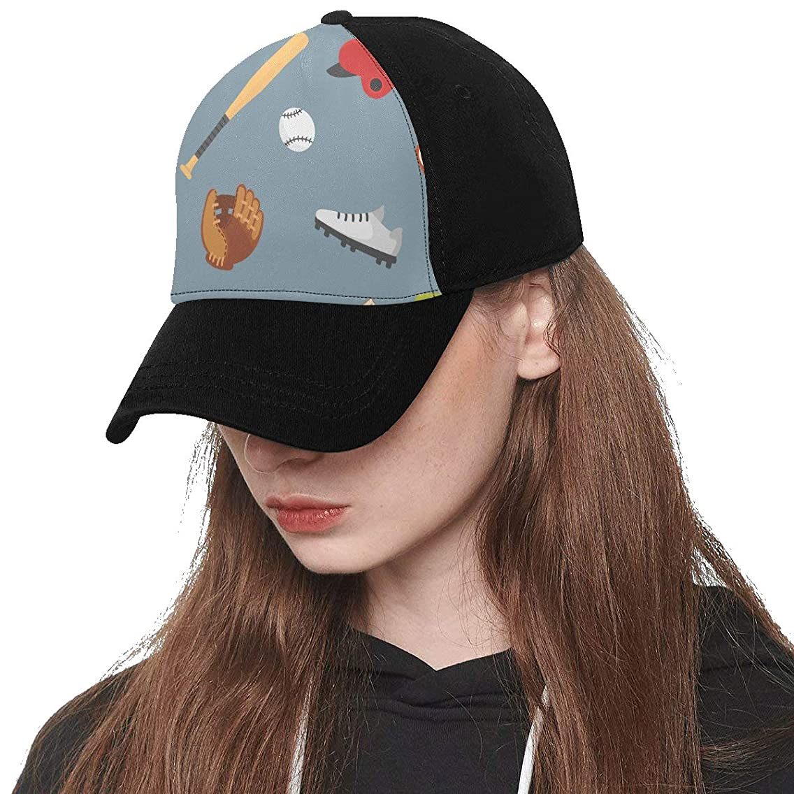 Front Panel Custom Baseball Player Cute Hand Drawn Sports Printing Baseball Hat Adjustable Size Curved Dad Cap Suit for Hip-hop Sports Summer Beach Outdoor Activities Unisex