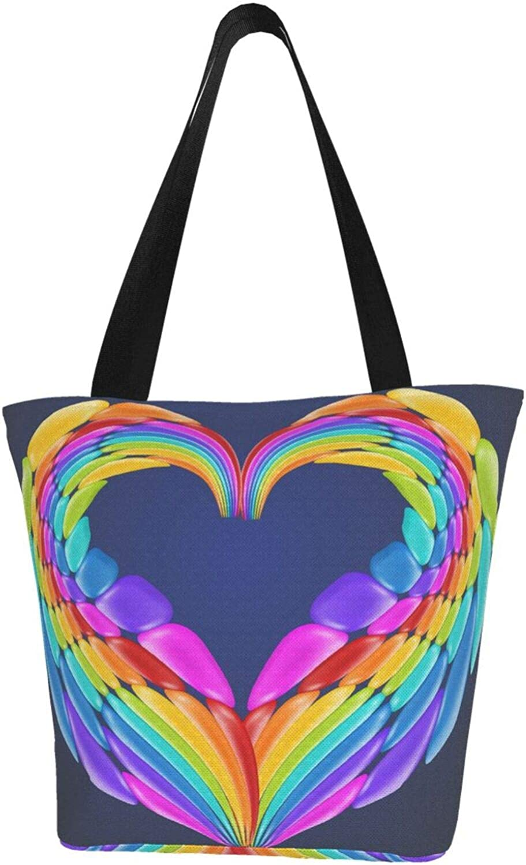 Rainbow Art Wings Love Lgbt Themed Printed Women Canvas Handbag Zipper Shoulder Bag Work Booksbag Tote Purse Leisure Hobo Bag For Shopping