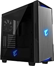 AORUS C300 Glass ATX Gaming Case, Tinted Tempered Glass, RGB Fusion 2.0, Upgraded I/O Panel with USB 3.1 Gen 2 Type C and HDMI, VR Ready, Watercooling Ready, Vertical GPU Mount Support - Black