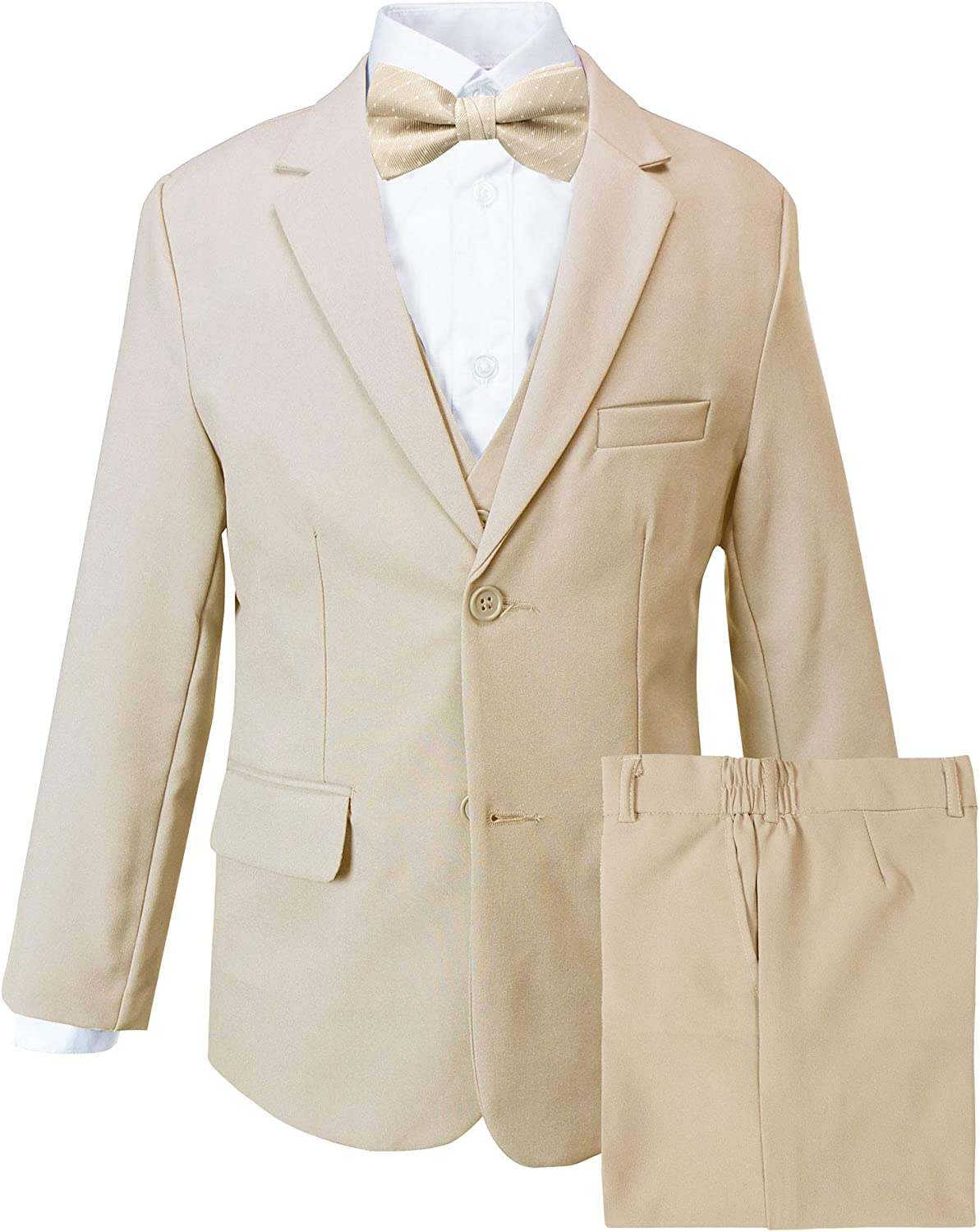 Spring Notion Boys' Modern Fit Khaki Dress Suit Set with Bow Tie
