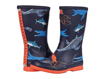 Joules Kids Roll Up Welly (Toddler/Little Kid/Big Kid) (Navy Sea Monster) Boy