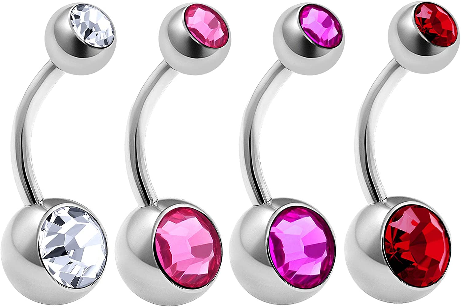 4Pcs Surgical Steel 14 gauge Belly Button Rings Piercing Jewelry Ear Lobe Earring navel 8mm 5mm Crystal More Choices