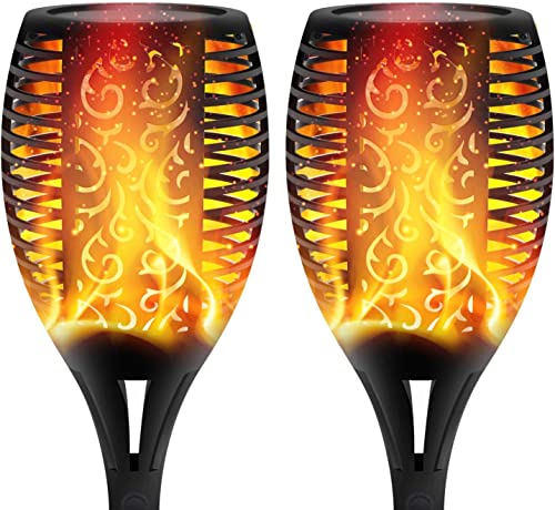 XERGY Solar Lights Outdoor Waterproof Dancing Fire Mashaal Flame Torch 96 LED Lantern Landscape Decoration Lighting D...